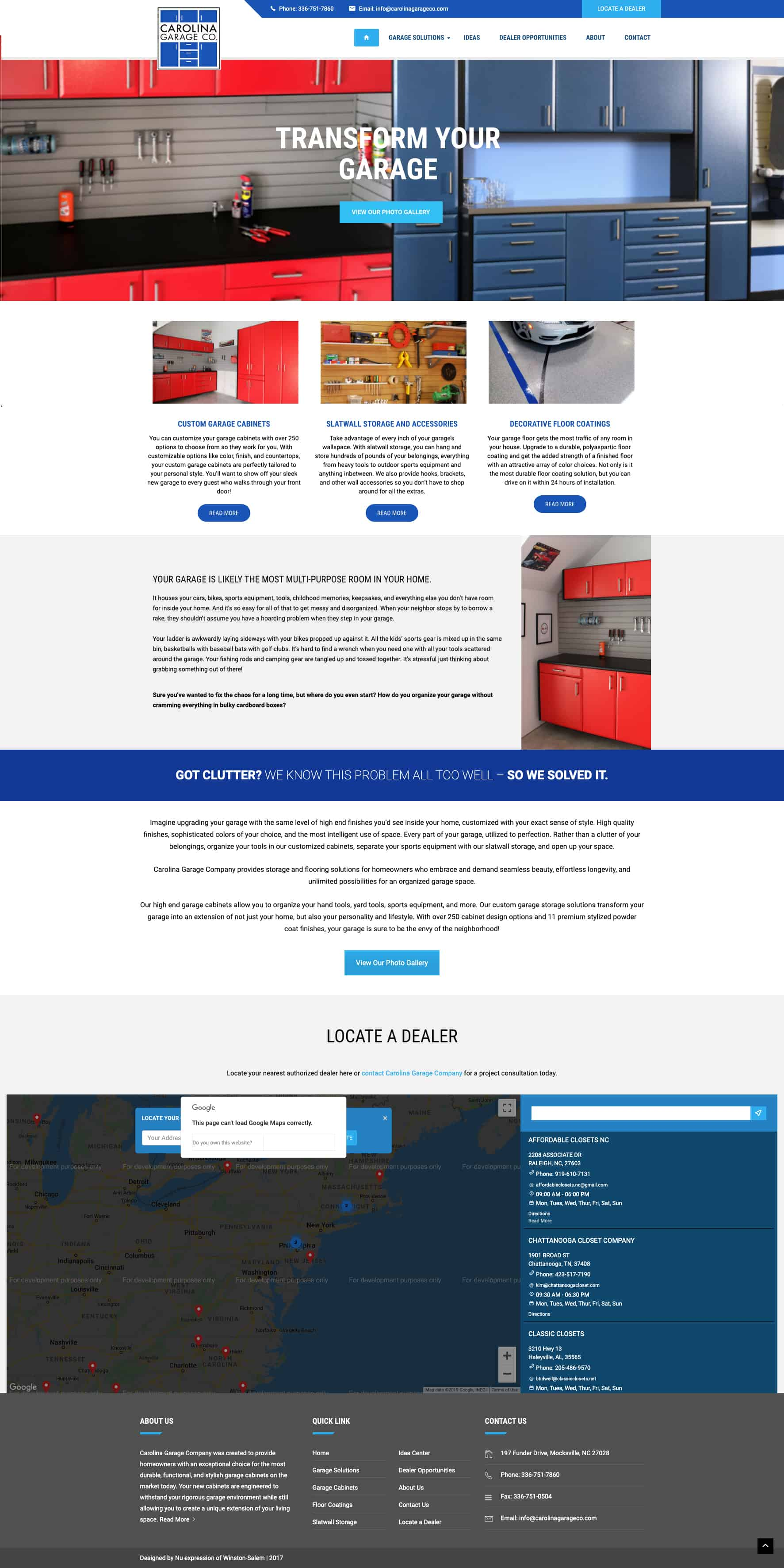 Home Organizational Service Website