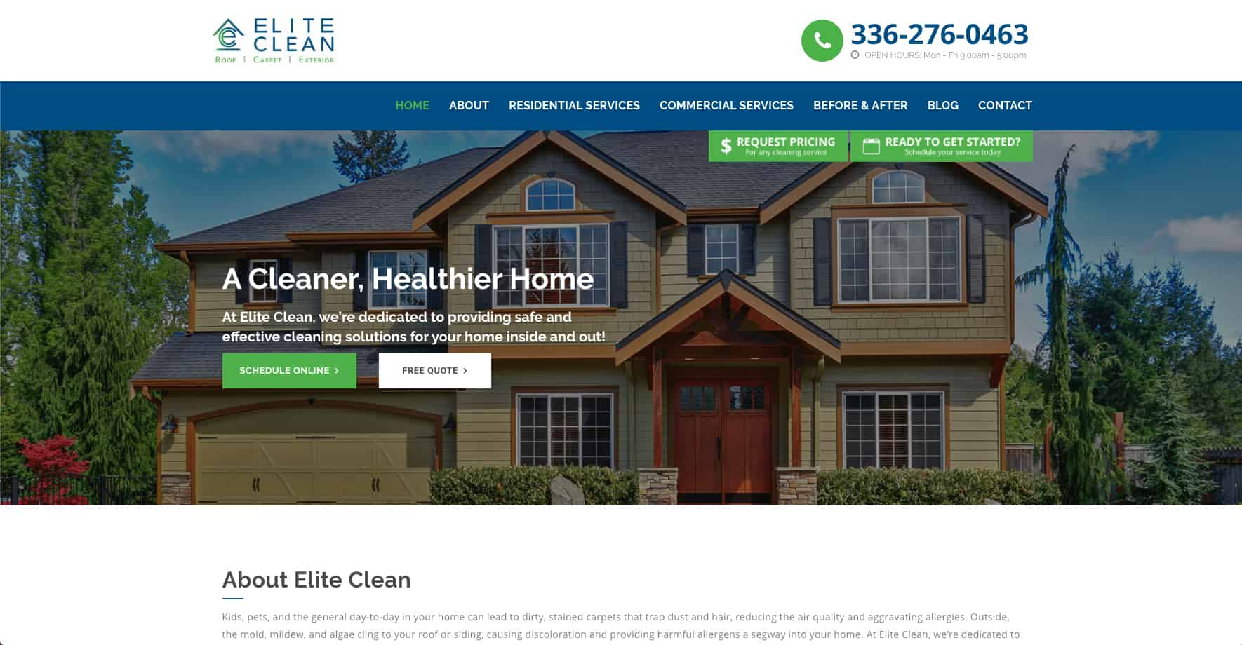 Residential Cleaning Services Website